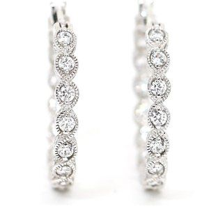 Elegant Tacori Hoops White Topaz Earrings